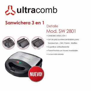 ULTRACOMB SANDWICHERA SW-2801 750W 3 EN 1