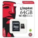 Memoria Micro Sd 64gb Kingston C/adap Clase 10 80mbs Canvas