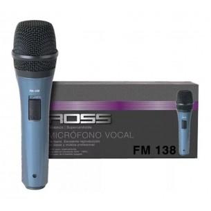 ROSS MICROFONO VOCAL DE MANO PARA VOCES PLASTICO FM-138 SUPERCARDIOIDE