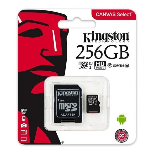 KINGSTON TARJETA MICRO SD-256GB C/ADAP CLASE 10 UHS-I (U1)