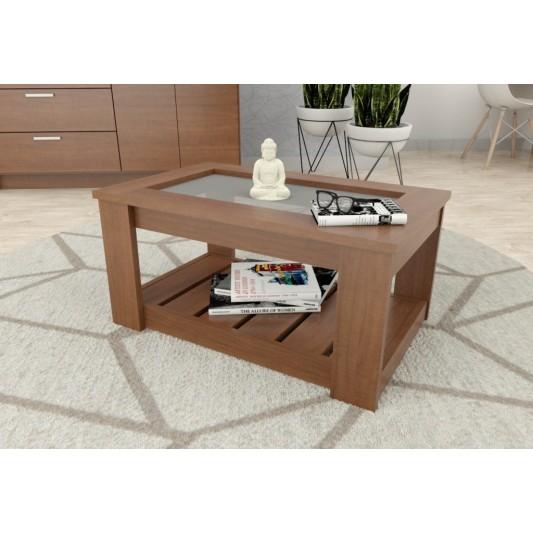 TABLE'S MESA RATONA RECTANGULAR C/VIDRIO 070X037X045 ART.2003 MELAMINA CAOBA