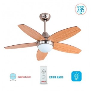 LILIANA VENTILADOR DE TECHO VT-HM315R 5 ASP MAD REG PARED 5 VEL 285RPM