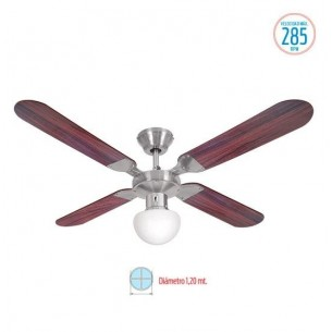 LILIANA VENTILADOR DE TECHO VT-HM314 4 ASP MAD REG PARED 5 VEL