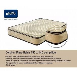 PIERO COLCHON BAHIA 140X190X026 RESORTES C/PILLOW TOP